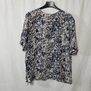 Christie & Jill silk blue print blouse